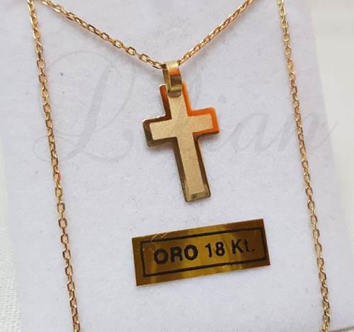 Cadena hombre y cruz oro 18k facetada 50 cm