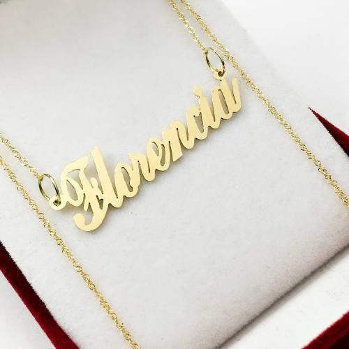 Cadena oro singapur y nombre oro 18 k regalo mujer 15 años