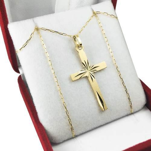 Conjunto cruz y cadena oro 18k grande 60cm hombre para papa