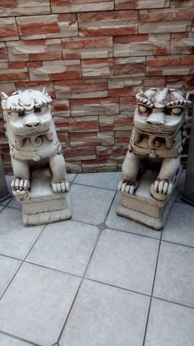 Pareja perros leones fu resina gigante 80 cm no envìo