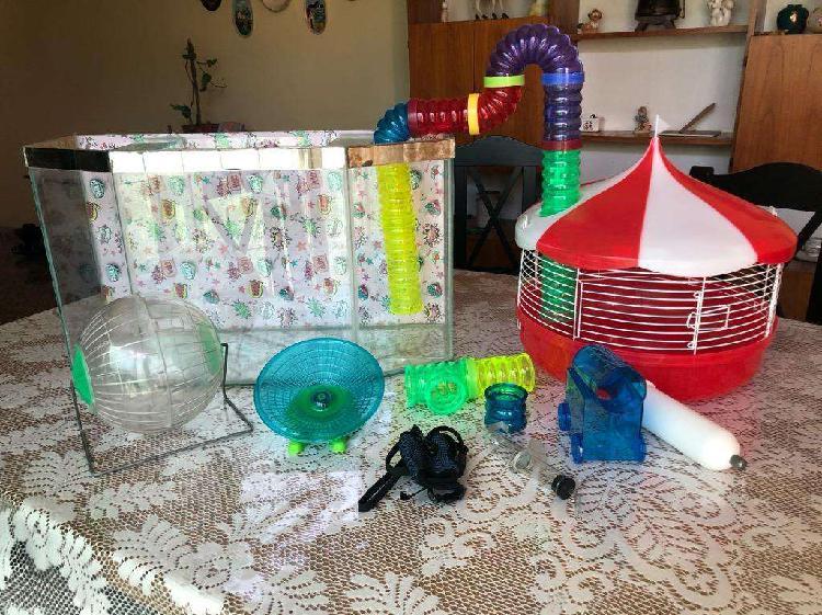 Pecera y jaula para hamster c/accesorios