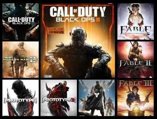 9 juegos xbox 360 call of duty + destiny + fable + prototype