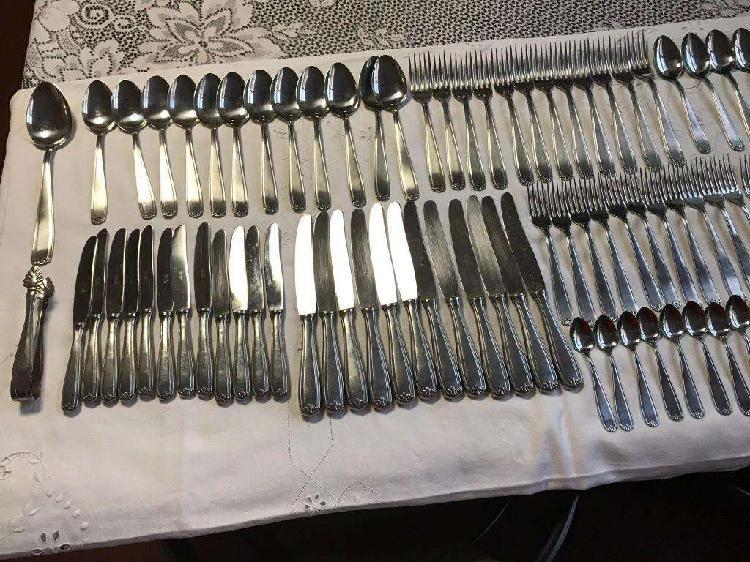 Juego cubiertos gamuza acero inoxidable industria argentina