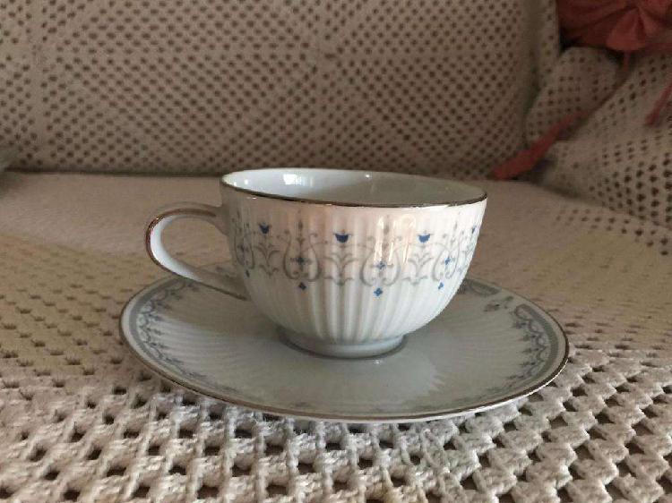 Taza de té porcelana tsuji, azul, gris y plata