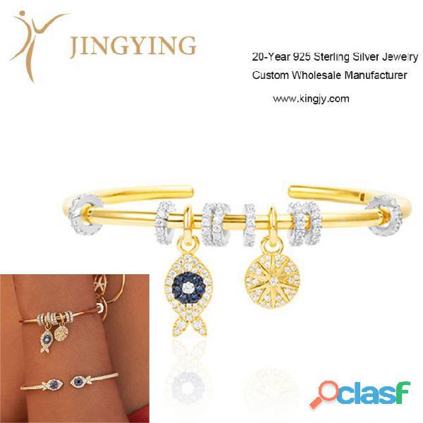 Pulseras brazaletes 925 joyería de plata esterlina proveedor mayorista personalizado