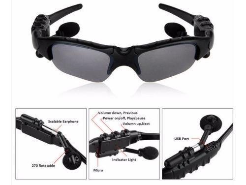 Auricular bluetooth lentes de sol sport manos libres g/plata