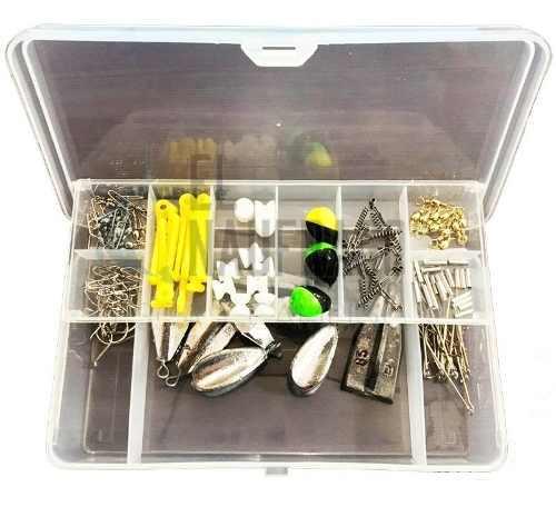 Kit artículos pesca + caja gavetero + anzuelos lineas plomo
