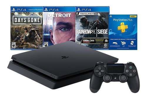 Playstation 4 slim 1tb 3 juegos 3 meses plus orig gtía ps4