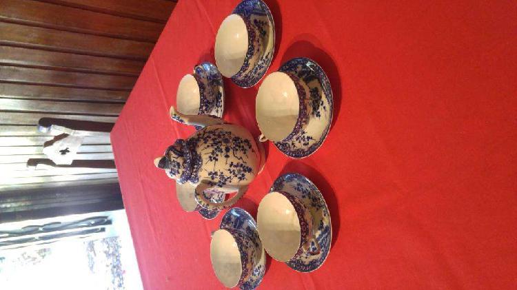 Antigua tetera y 6 tazas ceramica japonesa de los años 60