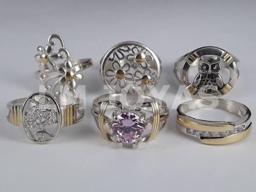 6 anillos plata y oro combo por mayor para revendedores