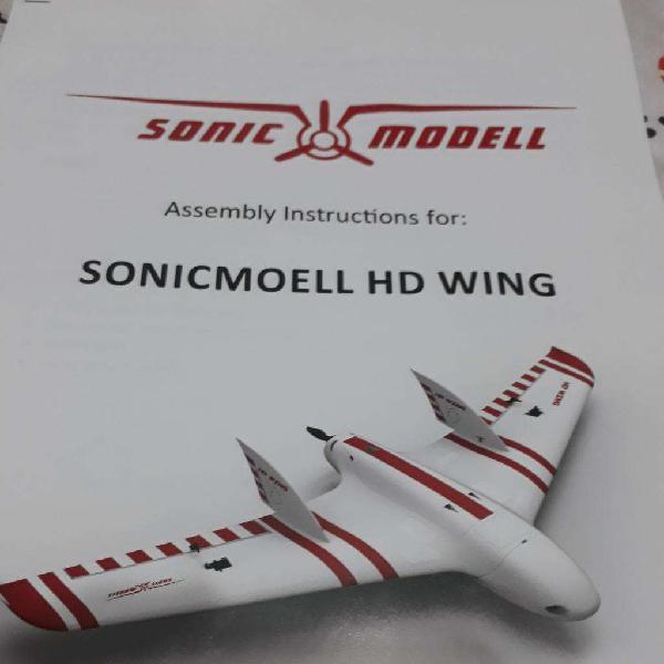Aeromodelismo ala rc sonic 1440 mm motor servos helice 12000