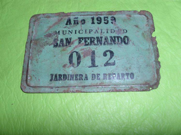 Antigua patente chapa jardinera de reparto año 1959