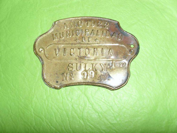 Antigua patente chapa sulky año 1922