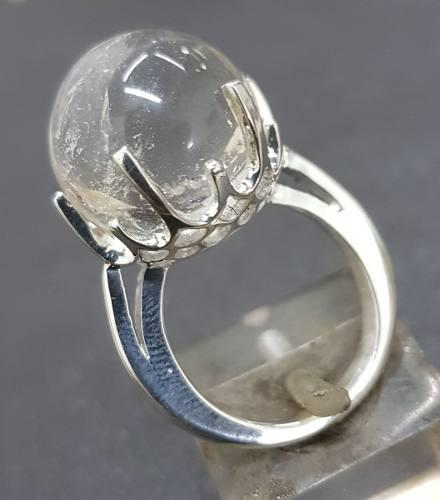 Anillo oraculo con bola de cristal en plata wicca art 830