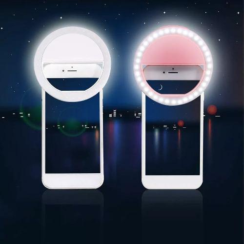 Aro de luz led para selfie flash celular batería accesorio
