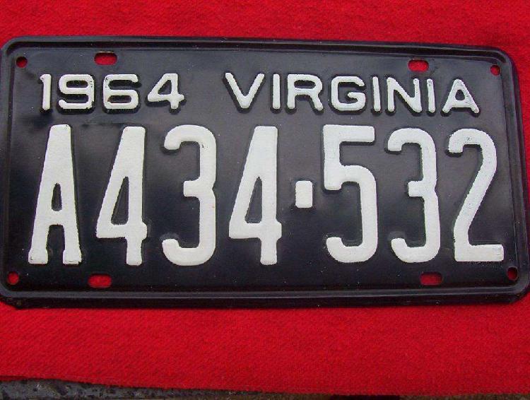Chapa patente antigua estados unidos año 1964 virginia usa