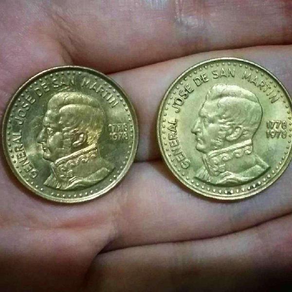 Lote x2 monedas argentina 50 y 100 pesos 1978 conmemorativas