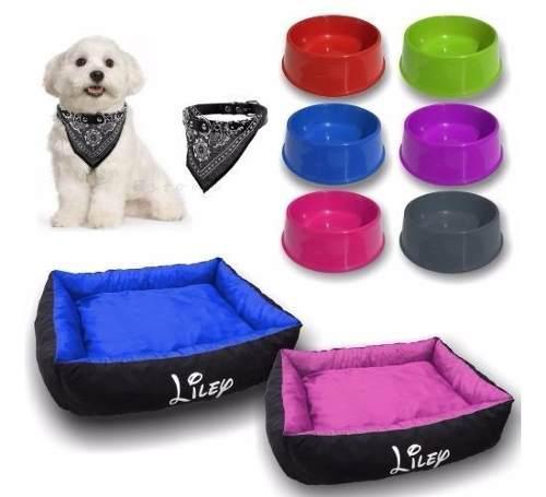 Moises perro cama +plato +collar pañuelo kit talle 4