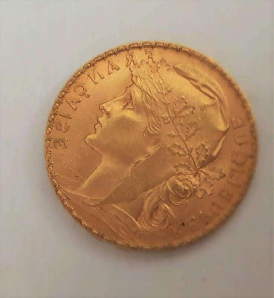 Moneda de oro 24 kilates de francia. una reliquia.