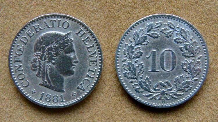 Moneda de 10 rappen suiza 1881