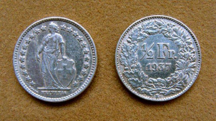 Moneda de 1/2 franco de plata, suiza 1937
