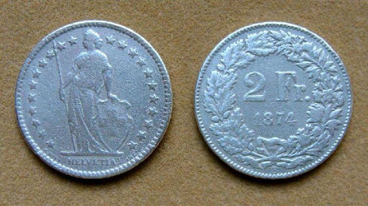 Moneda de 2 francos de plata, suiza 1914