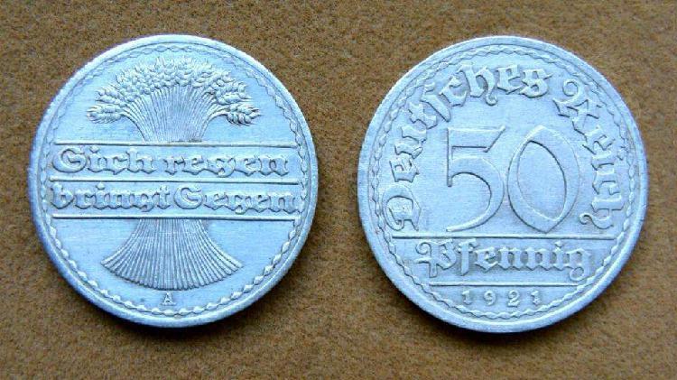 Moneda de 50 pfennig rep. de weimar, alemania 1921 a