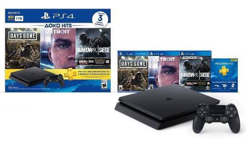 Consola play station 4 + 3 juegos + 1 joystick ps4 2053