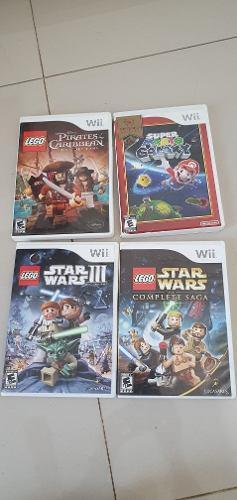 Lote 4 juegos originales wii: súper mario galaxy, star wars