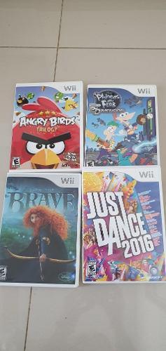 Lote de 4 juegos originales wii. just dance, angryb, brave