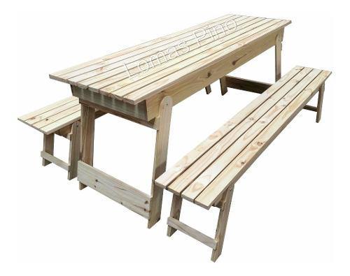 Juego mesa quincho y bancos plegables de 2,00 mts