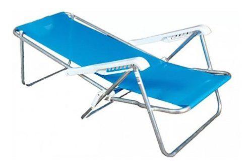 Reposera playera aluminio 5 posiciones tela coversol 180°