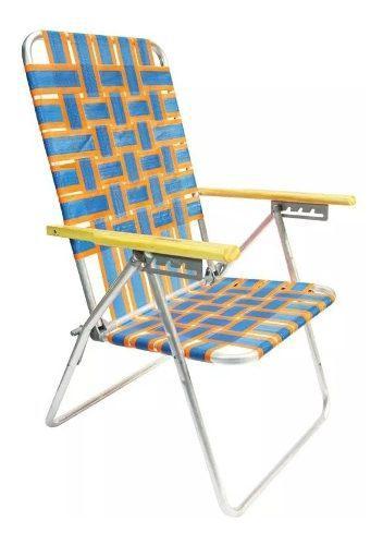 Reposera silla aluminio 5 posiciones cintas plasticas