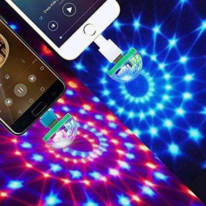Luz led rgb usb rítmica adaptador otg (usb a micro usb) -