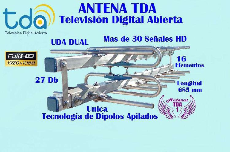 Antena tda, yagui dual 16 elementos mas alcance, tv digital