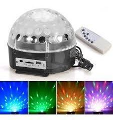 Led magic ball bola audiorítmica con luces lee usb mp3 sd