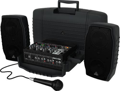 Sistema de sonido portatil behringer ppa200 200w 2 bafles