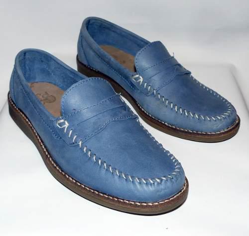 Zapato de hombre náutico azul índigo - todo cuero - talle