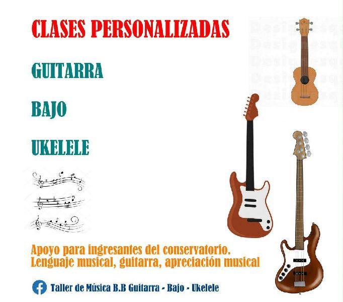 Clases de guitarra, bajo, ukelele, lenguaje musical, lectura