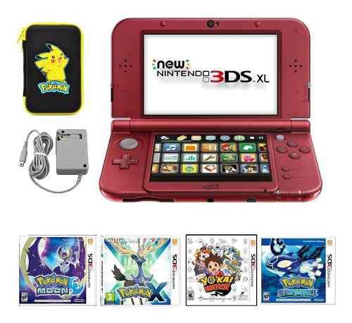 Nintendo 3ds xl estuche protector cargador 4 juegos pokemon
