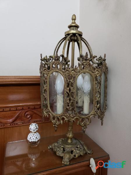 Lamparas arañas de mesa bronce (dos) en la plata