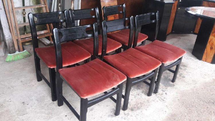 Juego comedor laqueado negro 6 sillas tapizado pana moldular