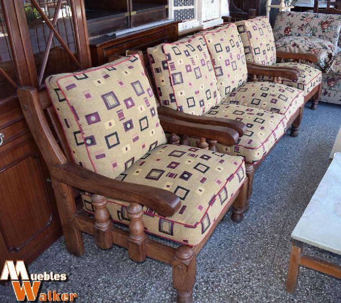 Juego completo de sillones robustos de algarrobo macizo