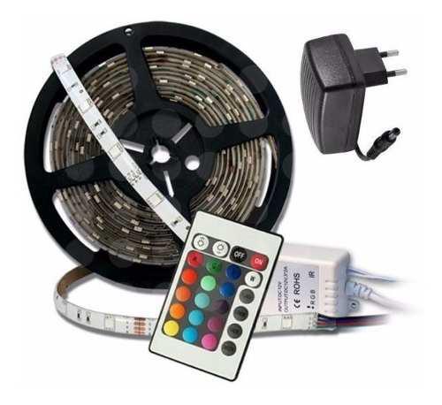Kit tira led rgb 5050 ext controlador fuente 12v + control