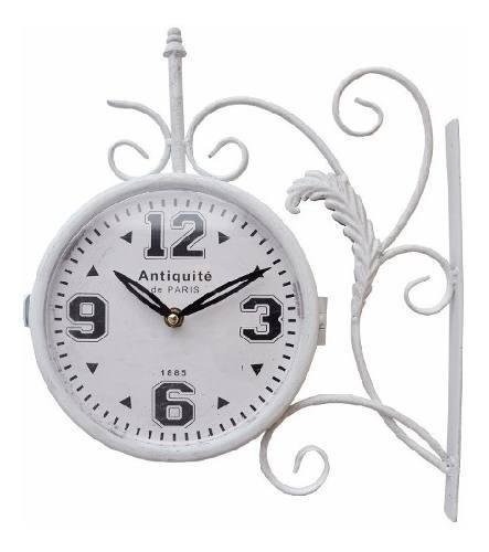 Reloj de estación de pared antiguo blanco vintage london