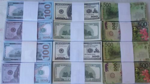 Billetes cotillòn dolares pesos fajos x 100 unid tamaño