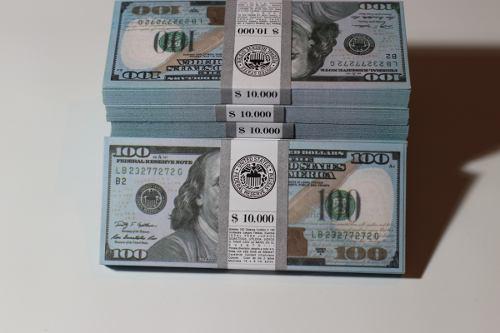 Billetes cotillón utileria dolares pack x 100 unid.sin