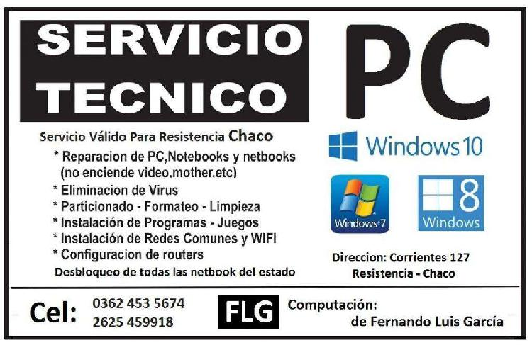 Servicio tecnico de pc de escritorio, notebook y netbooks