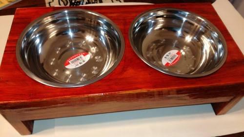 Comedero doble de madera y metal alto para perros y gatos