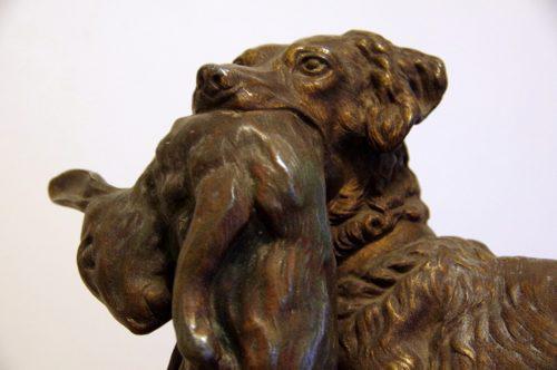 Escultura bronce setter con liebre jules moigniez(1835-1894)